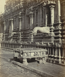 Tanjore Pagoda. The Subramanya Temple. North facade and stone trough